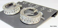GUESS Jeans Ring Earring Earrings Hoop Silver Tone Rhinestones Charms  Charm NWT