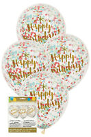 6 x Happy Birthday Coloured Confetti Clear Party Balloons Decoration 30cm Helium