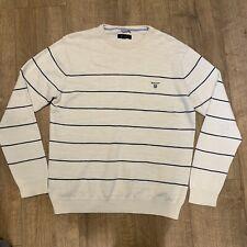 Gant Vintage Retro Striped Mens Jumper Sweater 100% Cotton Cream Blue Stripes