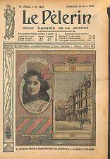 Portrait Princesse Marie-Adélaïde de Luxembourg Palais Grand- 1912 ILLUSTRATION
