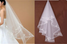 "59"" Cathedral Flower Edge Veils 1 Layer Bridal Wedding Accessory Elbow Length UK"