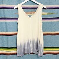 Free People Tank Top Size XS Gray Tie Dye Dip Dye Ombre Swing Boho Oversized