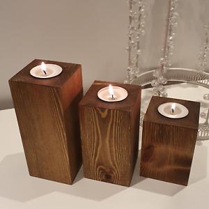Rustic Wooden Tea Light Candle Holders Redwood Handmade Set Of 3 Dark Oak Gift