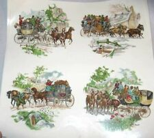 """Ceramic Decal Vintage Coaching Scene Horse 3 3/4"""" Decal 8 pieces"""