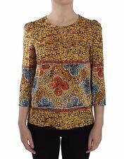 NUEVO DOLCE & Gabbana Multicolor Mosaico de impresión blusa Seda Camiseta IT40 /