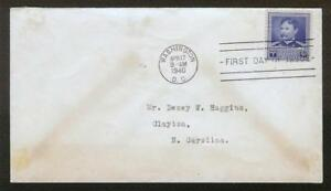 "FIRST DAY COVER #877 ""Famous Americans"" Dr. Walter Reed 5c FDC 1940"