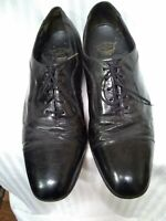 Vintage Florsheim Royal Imperial Shoes•Sz•9.5C• Black Cap Toe Oxfords