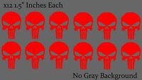 Punisher Skull Car Window Helmet Bumper Red Decal Stickers Pack Lot of 12 Decals