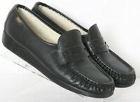 SAS Black USA Comfort Slip-On Pinch Moc Toe Penny Loafers Women's US 9.5M