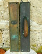 2 VINTAGE LARGE BRASS DOOR ESCUTCHEONS WITH ONE HANDLE INDUSTRIAL