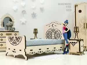 DOLL BED - Dollhouse Furniture - Laser cut wood Miniatures & Accessories