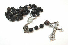 STERLING SILVER BLACK PLASTIC ROSARY ***