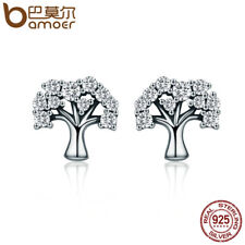 Bamoer S925 Sterling Silver Stud CZ earrings The Tree Of Life For Women Jewelry