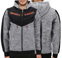 Men's Zip Up Hoodie Fleece  Moto Quilt ZipperJacket Drawstring Sweater Slim Fit