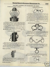1924 PAPER AD Bean Pattern Tower's Police Hand Cuffs Phillips Nippers Star Badge