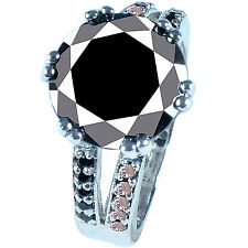 Rough Diamond Solitaire Ring .925 Silver 6.55 ct Aaa Black Moissanite & Nautral