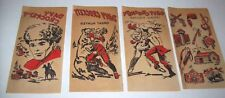 Davy Crockett Iron On Transfer Decals Original 1950s NOS (4) Cowboys Indians Red