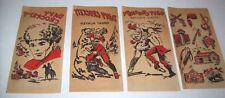 Davy Crockett Original 1950s NOS (4) Red Iron On Transfer Decals Cowboys Indians