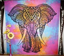 Indian Elephant Tie Die Mandala Tapestry Bedspread Cotton Queen Wall Hanging Set