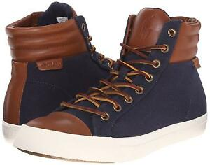 Ralph Lauren Polo Navy Canvas Leather Geffron Hi Top Fashion Sneakers New