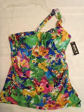 ALLEN B Size 4 Floral One-Shoulder Halter Tankini Swim Top Swimsuit NWT