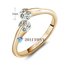Wedding Ring 18K Rose Gold Plated Made With Swarovski Crystal Ladies Jewelry