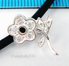 1x STERLING SILVER CZ CRYSTAL FLOWER PENDANT BAIL CLASP 11.4mm #1651