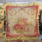 1.3' Red Elegant Rose Bouquet Swirl Victorian Style Handmade Needlepoint Pillow