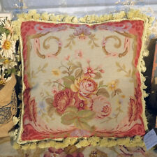 "16"" Red Elegant Rose Bouquet Swirl Victorian Style Handmade Needlepoint Pillow"