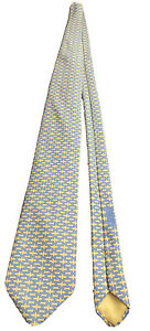 Hermes Made in France Yellow Blue Geometric Silk Tie 5129 HA