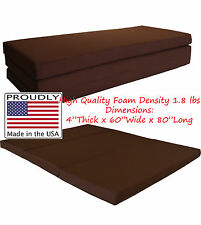 "Queen Size Brown Trifold Floor Foam Beds 4""x60""x80"" Foldable foam Ottoman Bed"
