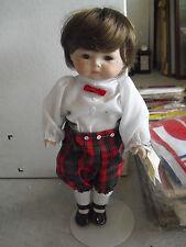 "Ooak Mary Ellen & Charles Porcelain Jointed Brown Hair Boy Doll 13"" Tall"