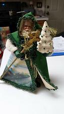"""Thomas Kinkade Irish Santa Emerald Isle Figurine Celtic 2003 9"""" Cottage & Tree"""