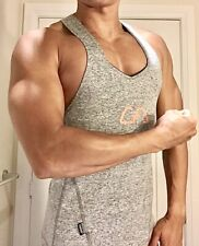 NWOT Mens Muscle Fitted Gray Compression Gym Tank Top M Y Back NR