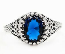 2CT Blue Sapphire 925 Sterling Silver Vintage Style Ring Jewelry Sz 8, FL2