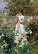 Oil painting charming young girl in white dress holding roses in spring field AA