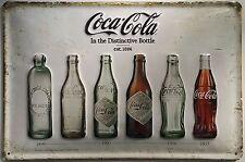 Coca Cola Blech Schild 20x30cm Reklame Bottle Werbeschild Entwicklung Flaschen