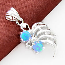 Valentine's Day Gift Woman Fire Blue Oval Opal Silver Necklace Pendant Jewelry