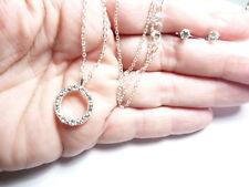 Vintage Silver Tn Metal Clear Rhinestone Infinity Ring Stud Earring Necklace Set