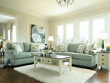 PARKSIDE Modern Living Room Couch Set - NEW Blue Chenille Fabric Sofa Loveseat