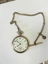 1913 South Bend 17J Size 16S Pocket Watch w/ Chain 79181 Railroad