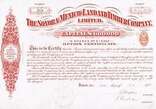 MEXICO SONORA MEXICO LAND & TIMBER COMPANY stock certificate 1912