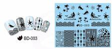 Nail Art Pegatinas Transferencias de calcomanías de agua mar Palmera Playa Shell Sirena BB003