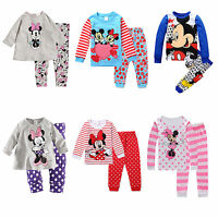 Kid Baby Girl Mickey Minnie Mouse Sleepwear Outfit Pyjamas Set Pjs Nightwear New
