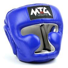 MTG Boxing Head Guard Closed Face Blue Leather  Muay Thai