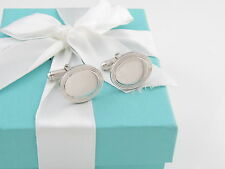 TIFFANY & CO SILVER OVAL ENGINE TURNED CUFFLINKS CUFF LINK LINKS ENGRAVABLE BOX