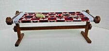 Dollhouse Miniature Quilt Frame w Quilting in Progress & Accessories 1:12 scale
