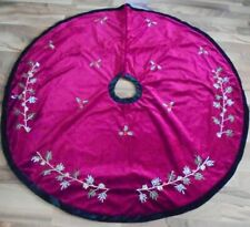 Red Green Velvet Embroidered Pine Branches Christmas Tree Skirt