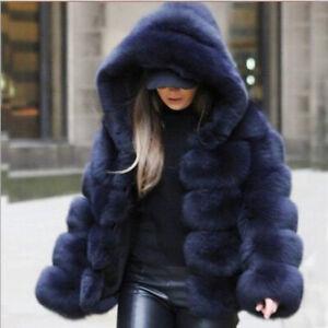 Plus size Winter womens Faux Fur fox fur coat thicken Hooded warm loose coats UK
