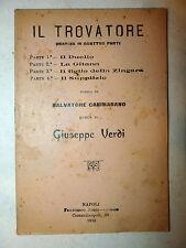 Libretto Teatro Opera - Cammarano / Giuseppe Verdi: Trovatore 1910 Napoli Jorio
